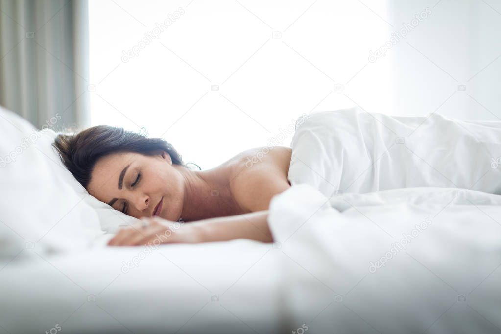 Beautiful Young Woman Sleeping In Bed Stock Photo Aff Woman