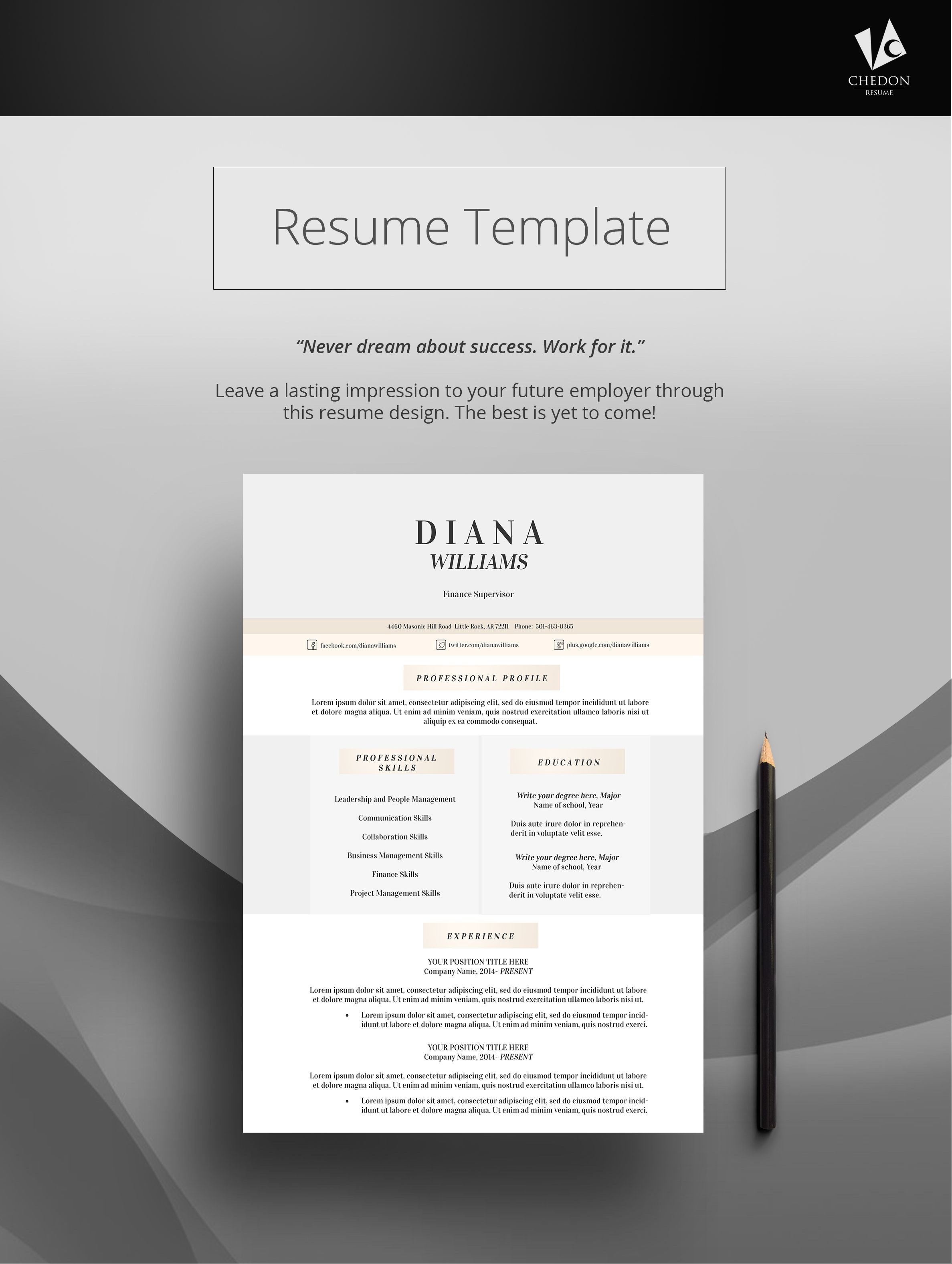 diana resume diana captures the classy yet simple resume template design