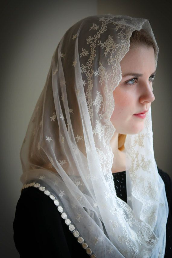 Lace Chapel Veil Mantilla Infinity Latin Mass is part of fashion - shapes by custom order  Suitable for Mass, bridal veils, Confirmation, and First Holy Communion   Evintage veils are handmade in limited production; not mass produced (so when they're gone, they're gone)    Quality made in the USA, and guaranteed, period  Convo us with any questions you may have!  Blessings~ Mater amabilis, ora pro nobis