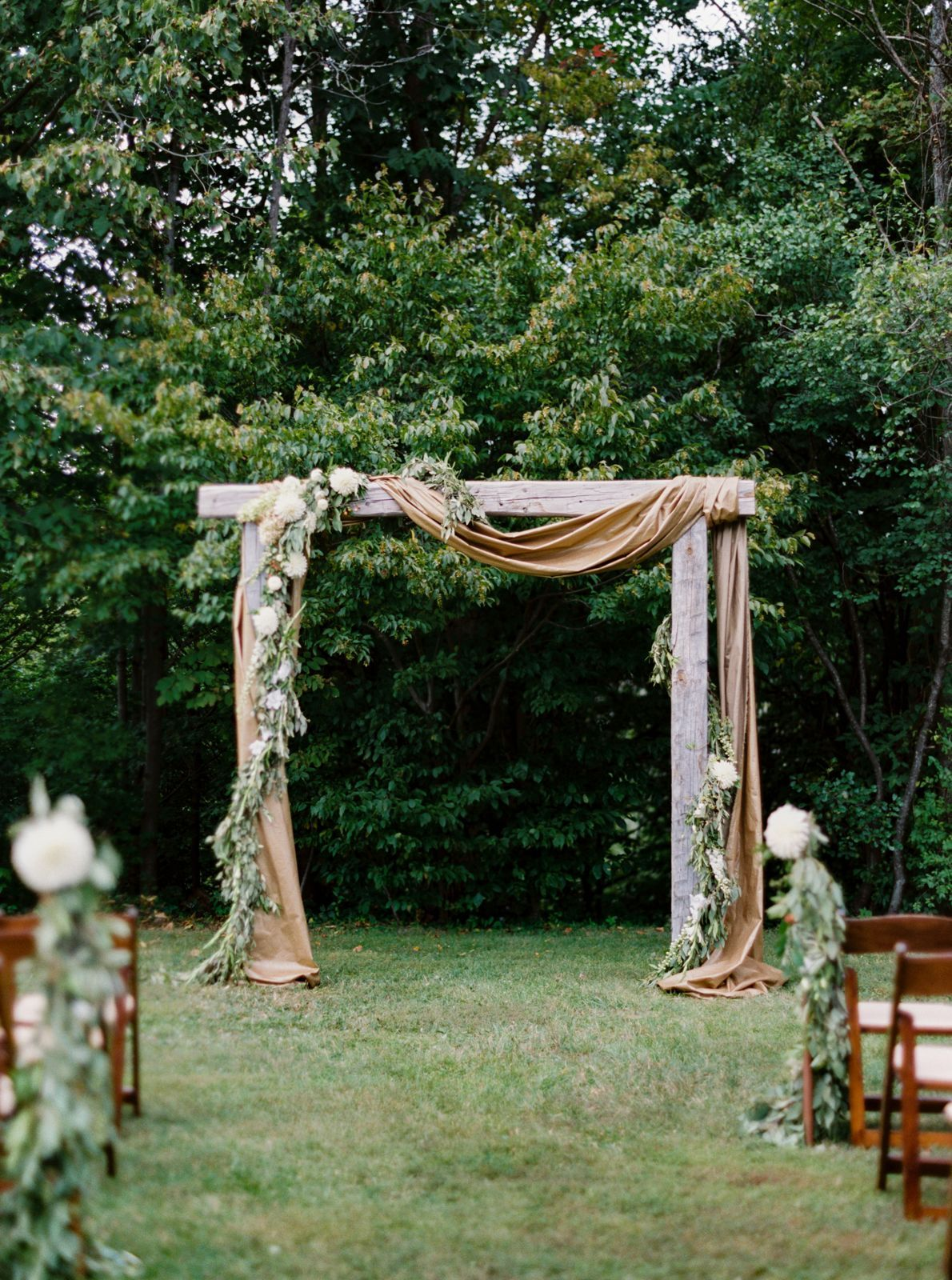 Rustic Wooden Wedding Arch With Eucalyptus Garland Wooden Wedding Arches Wedding Arch Wedding Arches Outdoors