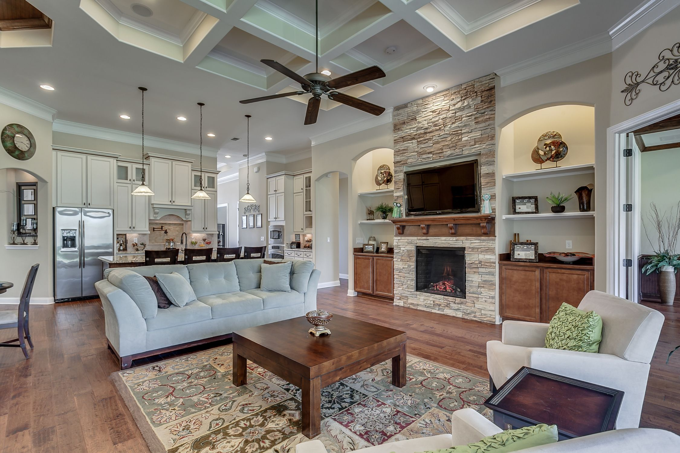 The Valencia Ii Model Living Area Complete With Fireplace By Dream Finders Homes Of Palms At Nocatee