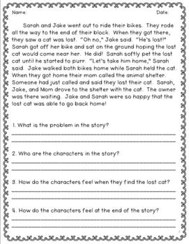 Reading Comprehension With Open Ended Questions 2nd Grade Restate