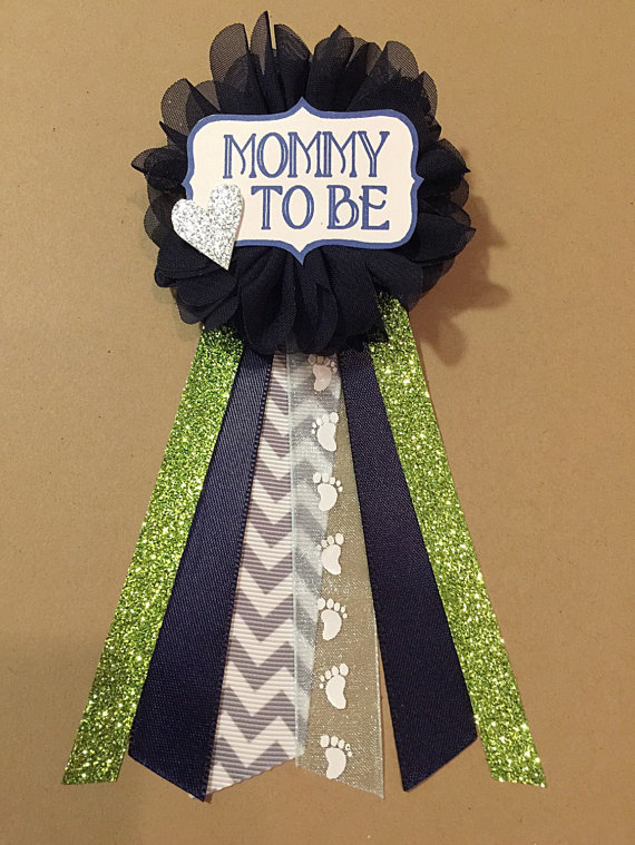 Gray chevron navy baby shower mommy to be flower by afalasca