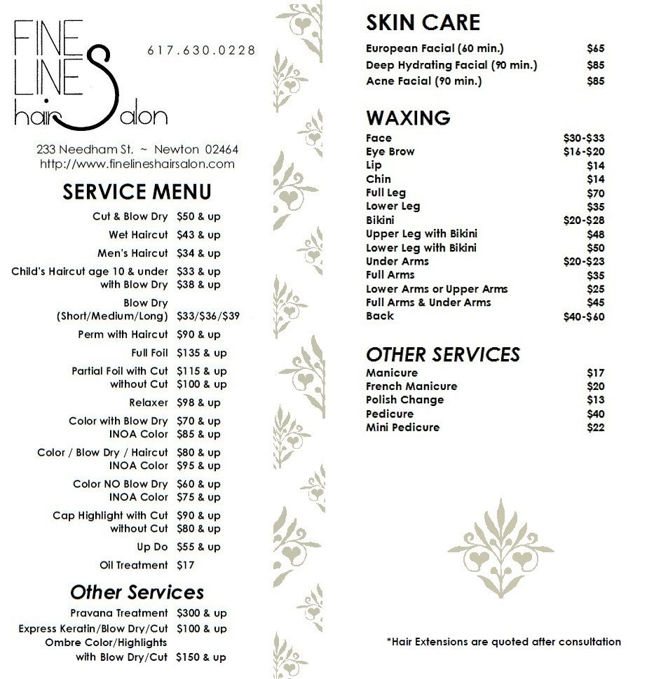 Fine Lines Hair Salon Services Menu Newton Ma An Example Of The