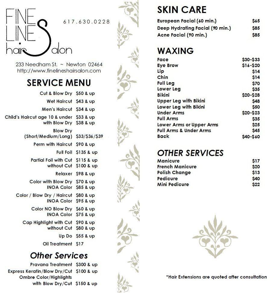 Service Menu Fine Lines Hair Salon Hair Salon Prices Salon Price List Hair Salon