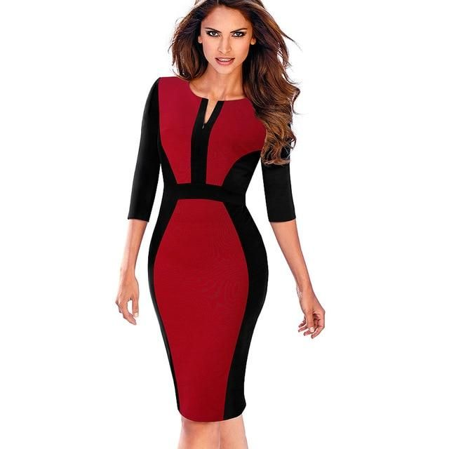 abaa911fce6ed Nice-forever Women Retro Contrast Patchwork Wear to Work Business ...