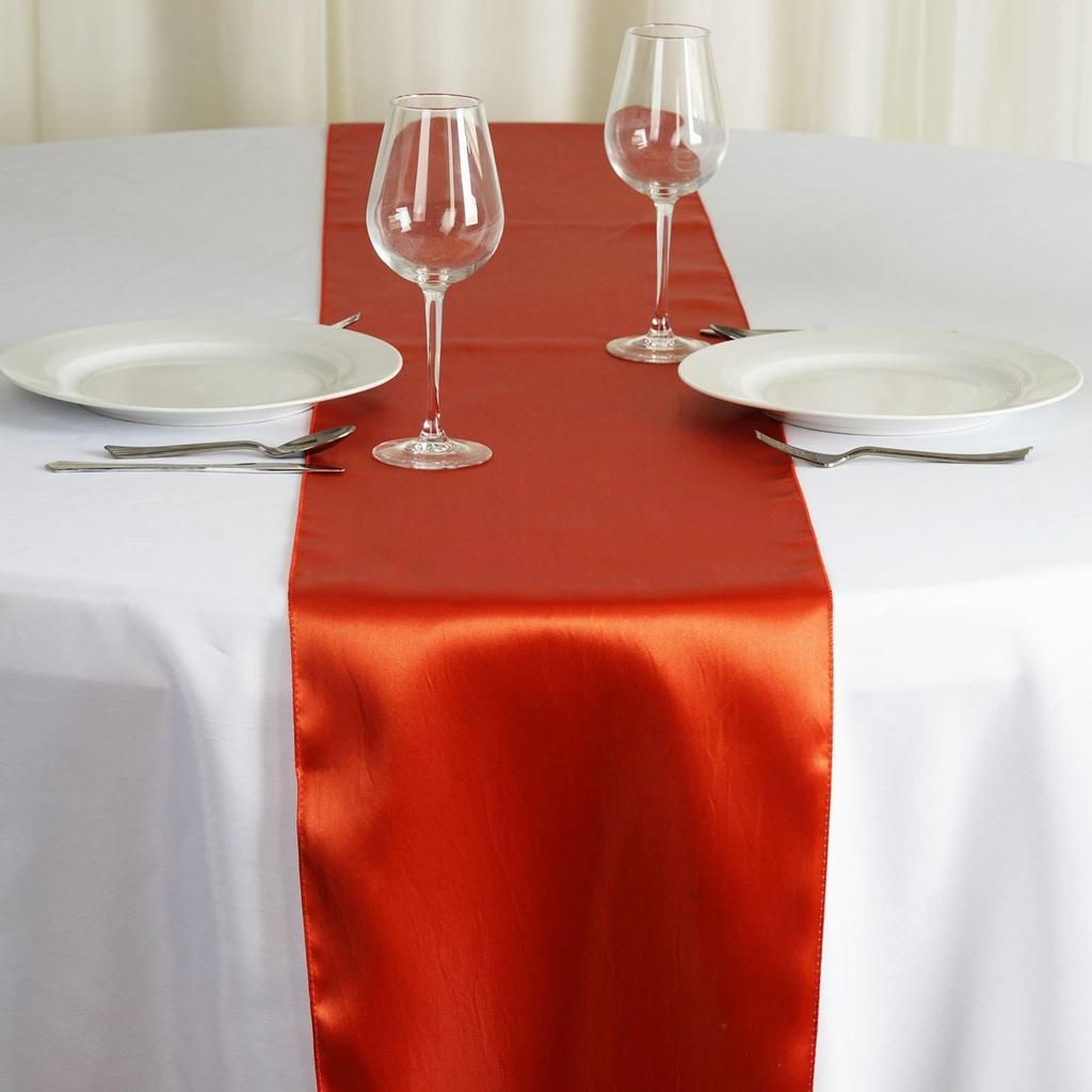 12 X108 Burnt Orange Satin Table Runner Table Runners Orange Table Wedding Table Centerpieces