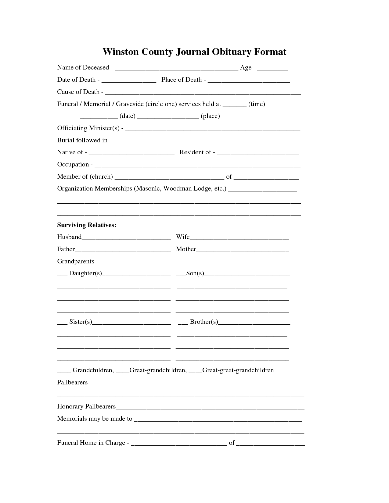 Printable Obituary Template  Fill In The Blank Obituary Template