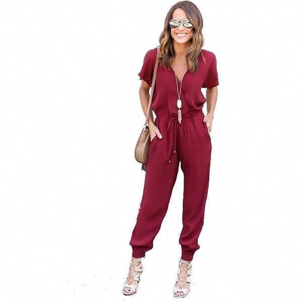 0e4ec8952cc Casual V Neck Pleated Waist Pocket Jumpsuit - Trendsology