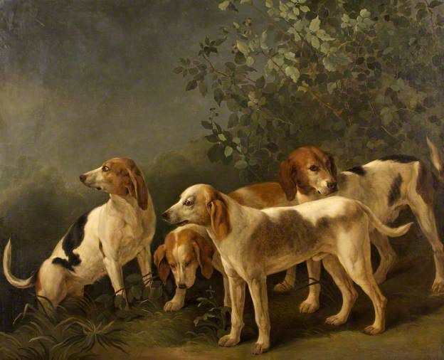Harriers Four Hounds By Jean Baptiste Oudry Or T B Hackert Oil