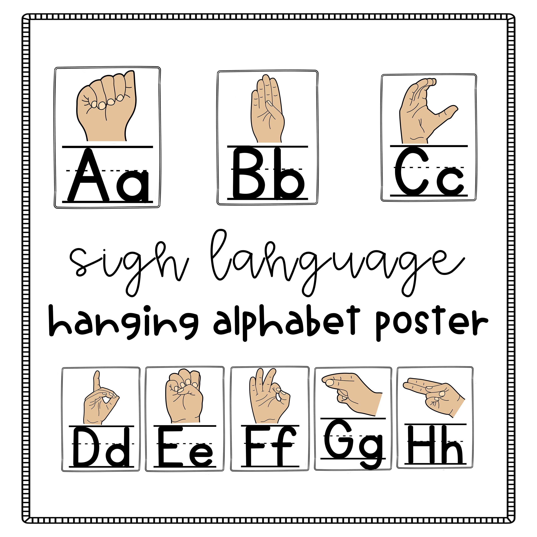 abc alphabet sign language poster classroom decor pinterest rh pinterest com