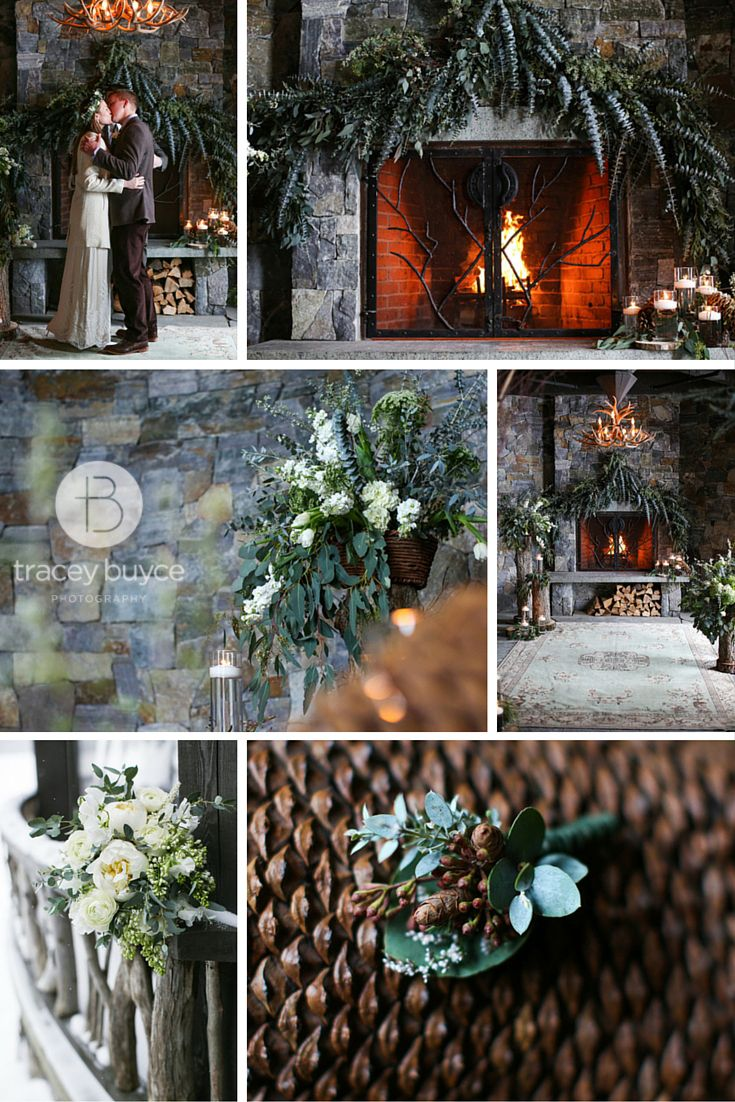winter wedding ceremony ideas at rustic lodge | Tracey Buyce Photography #lakeplacidlodge