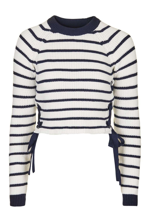Stripe Eyelet Tie Side Jumper - Knitwear - Clothing - Topshop