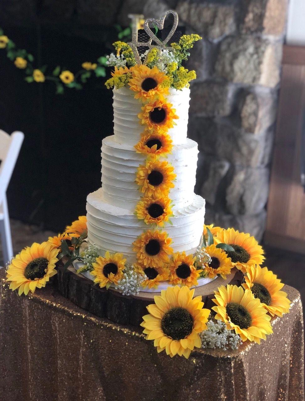 25 ideas wedding cakes rustic fall   Sunflower themed