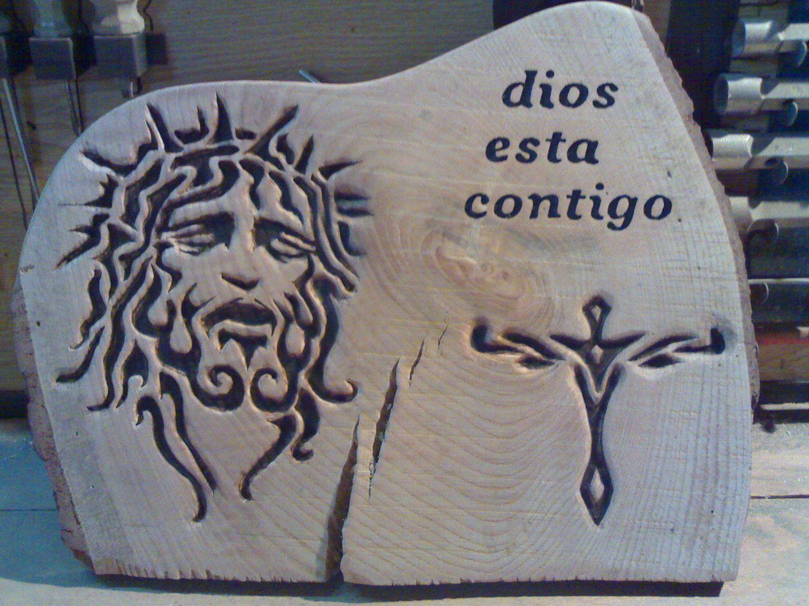 jesus grabado en la madera
