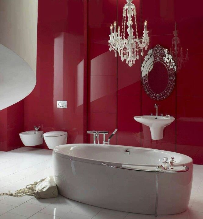 Red & white bathroom