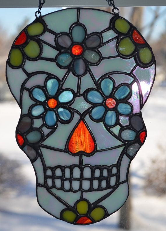 Beautiful stained glass Day of the Dead sugar skull or ...