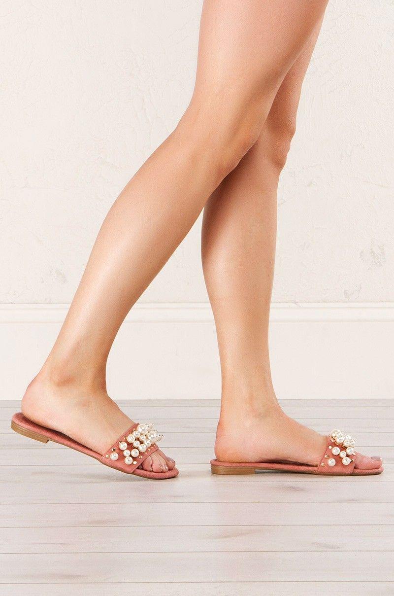 So Glad Pearl Detail Slip On Sandals (Get the look at www.shopAKIRA.com ) #ShopAKIRA #sliponsandals #slipon #sandals #pearls #pearlsandals #pink #pinksandals #ootd #springoutfits