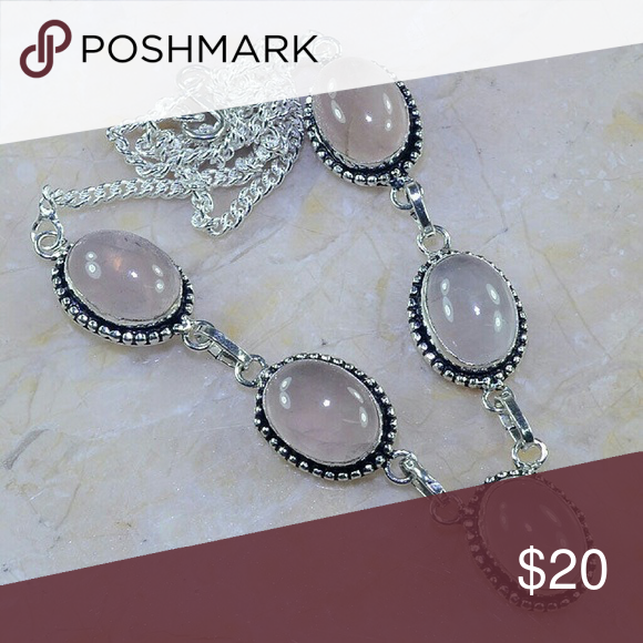 "ROSE QUARTZ SILVER SILVER .925 NECKLACE ROSE QUARTZ STERLING SILVER .925 SILVER NECKLACE 18 3/4"" MAIN GEMSTONE SIZE - 14-18mm (.55-.71"")  BRAND NEW IN BOUTIQUE PLASTIC PACKAGING Jewelry Necklaces"