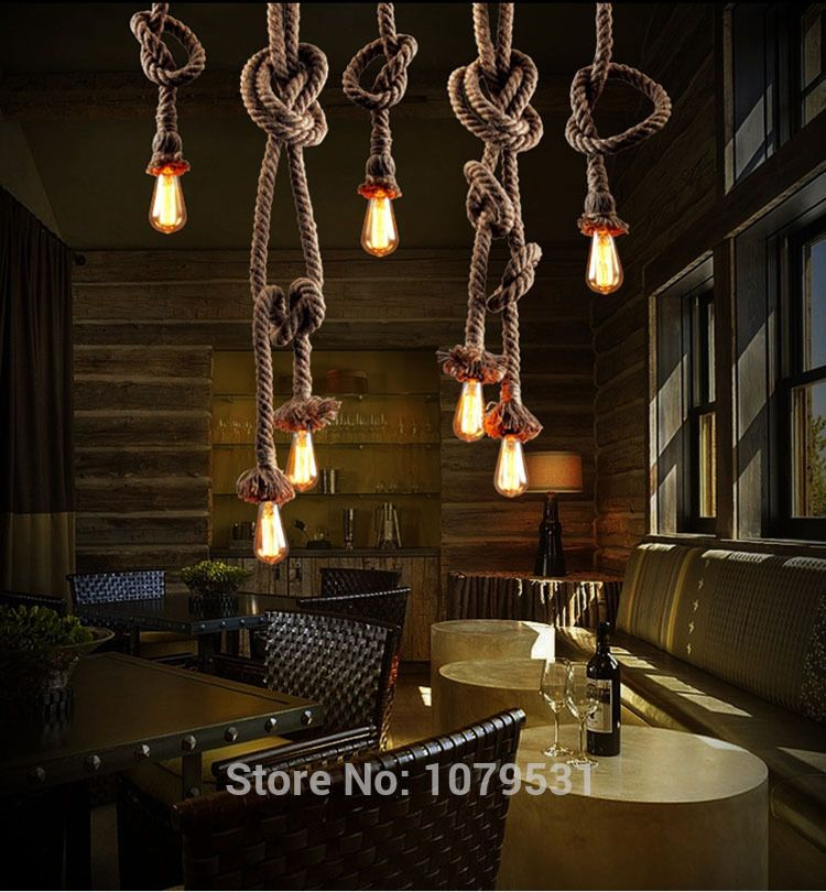 Vintage Rope Pendant Light Lamp Loft Creative Personality Industrial Edison Bulb American Style For Living