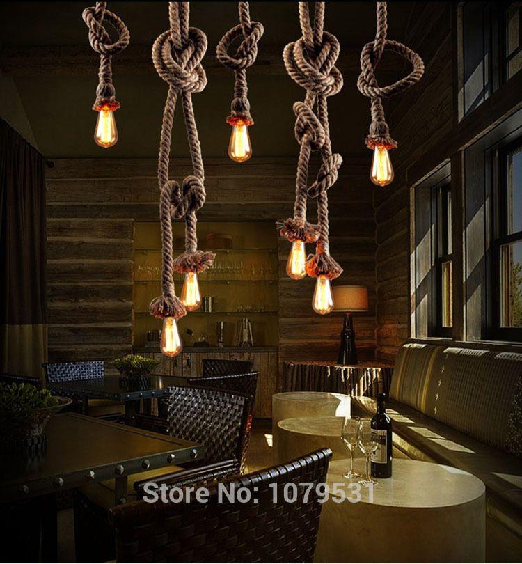 vintage touw hanglamp lamp loft creatieve persoonlijkheid