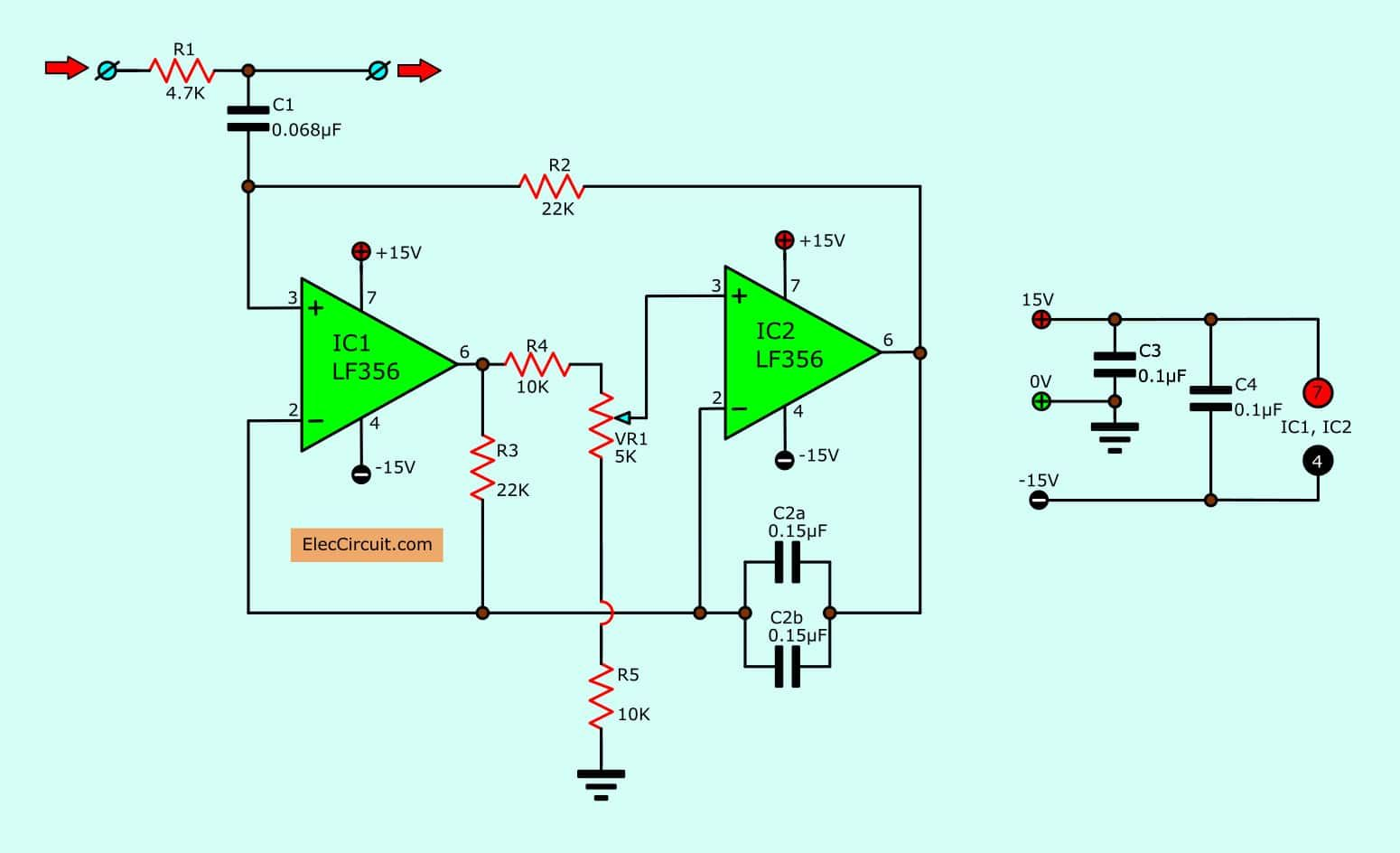 15 filter circuits using electronic coil radio frequency circuits