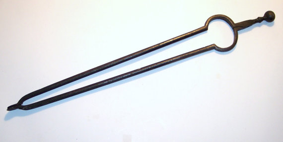 Antique Iron Hand Forged Fireplace Tongs Circa 1800 26 Long