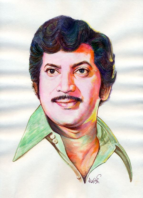 Telugu Super Star Krishna Painting With Watercolors And Color