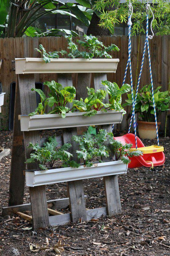 A Frame Gutter Garden Could I Make This With Pallet Wood And Reuse Gutters This Could Move Arou Gutter Garden Vertical Garden Diy Vertical Vegetable Gardens