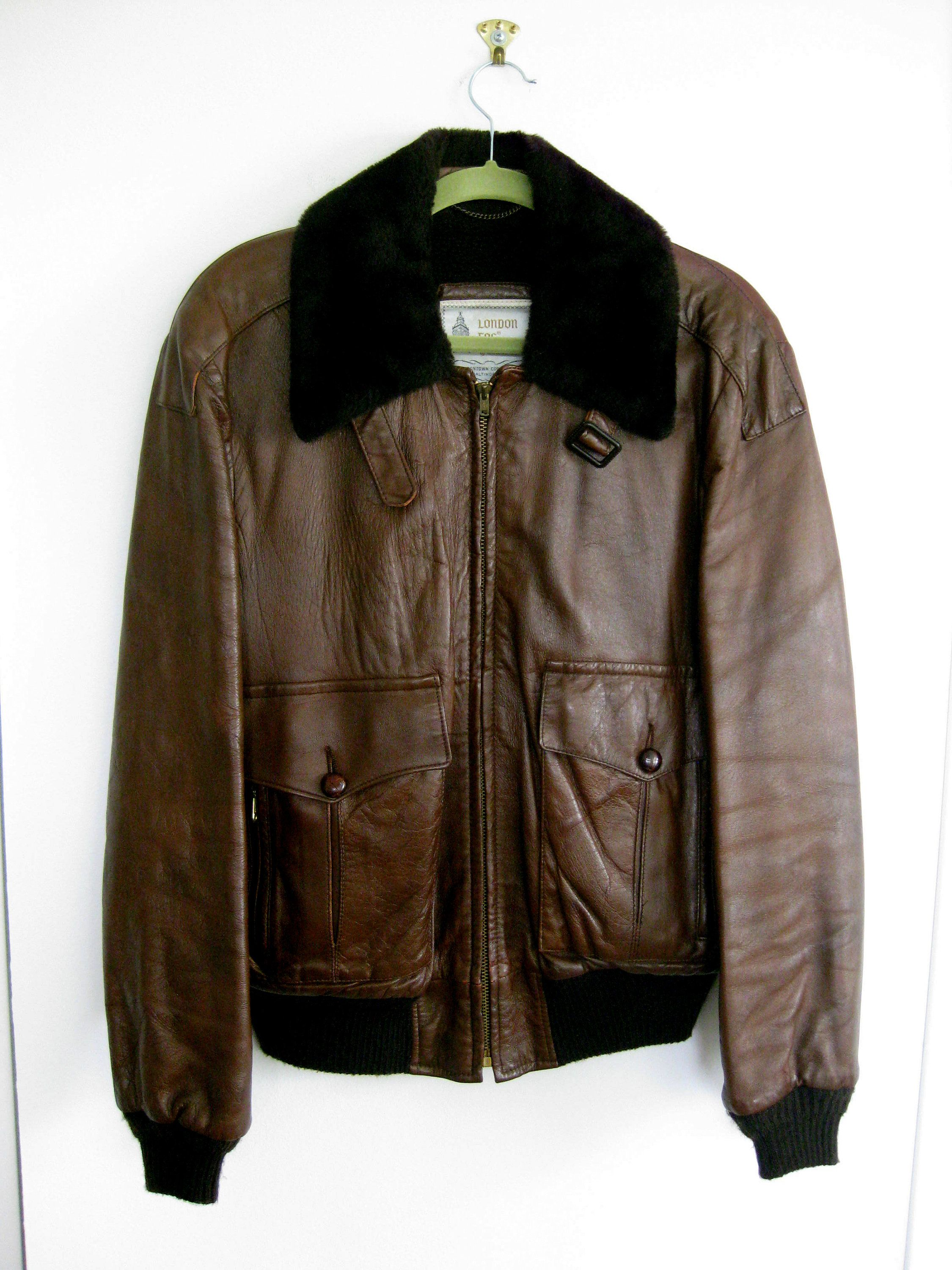 1960s London Fog Brown Leather Aviator Bomber Jacket Size 44 Faux Fur Collar Brown Bomber Jacket Faux Fur Collar Brown Aviators