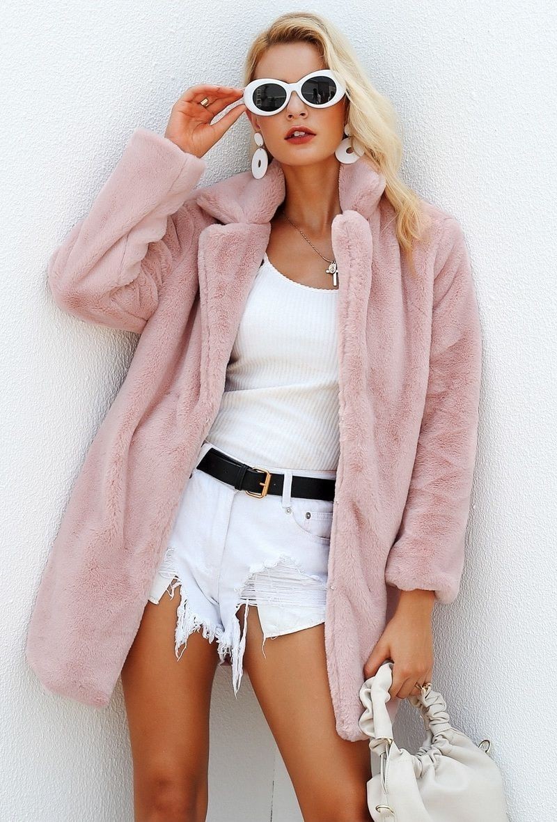 5c9d5d2adb4 CLICK on the photo to SHOP this warm gorgeous coat ! Millennial pink faux  fur warm soft teddy coat women winter autumn fall female casual white top  sweater ...