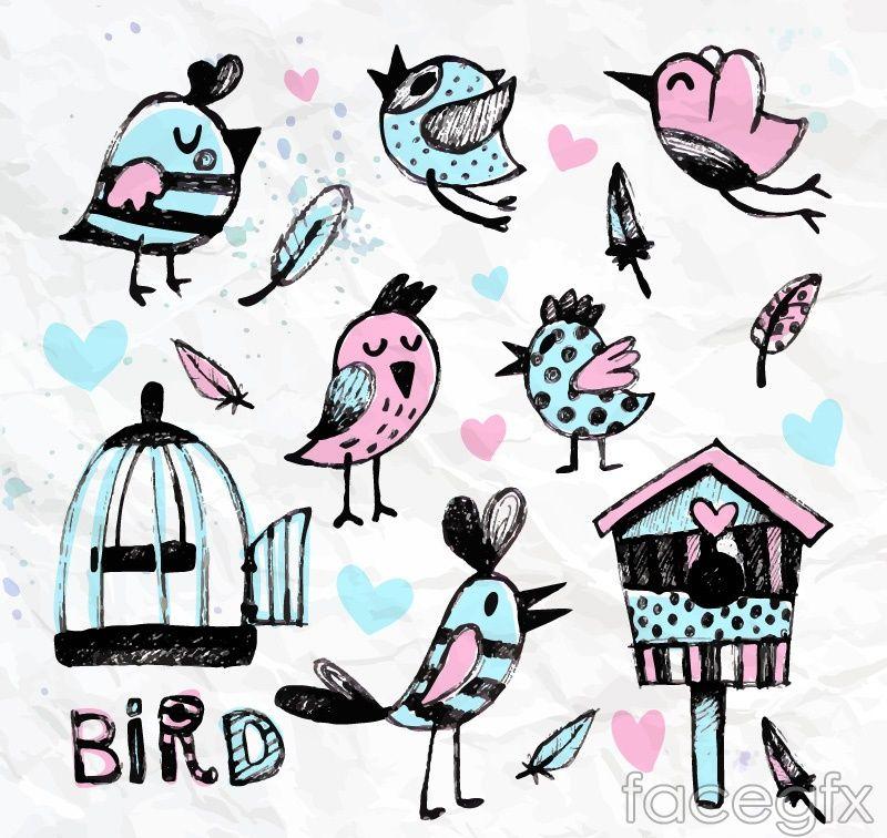 8 water painted bird and birdcage vector diagrams   Animación y ...