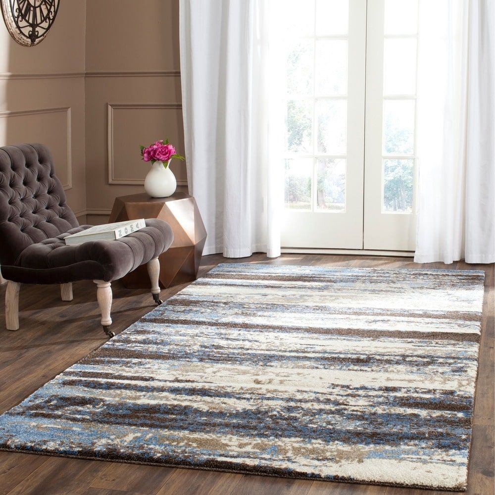 Safavieh Retro Modern Abstract Cream Blue Distressed Rug 89 X 12 Dining Room