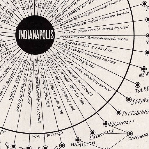 Map Showing Indianapolis as a Steam Railroad and Interurban Center