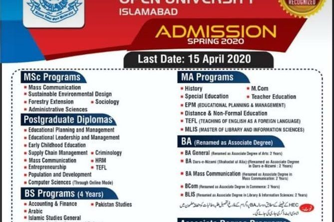Aiou Result 2019 In 2020 University Admissions Distance
