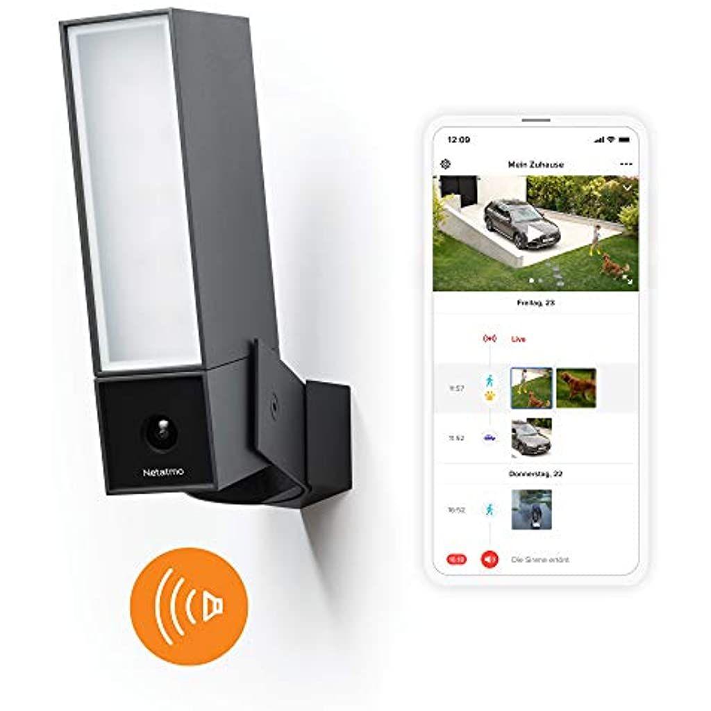 Netatmo Smarte Uberwachungskamera Fur Den Aussenbereich Mit 105 Db Sirene Wlan Integrierte Beleuchtung Bewegungserkennung N In 2020 Uberwachungskamera Wlan Aussenkamera