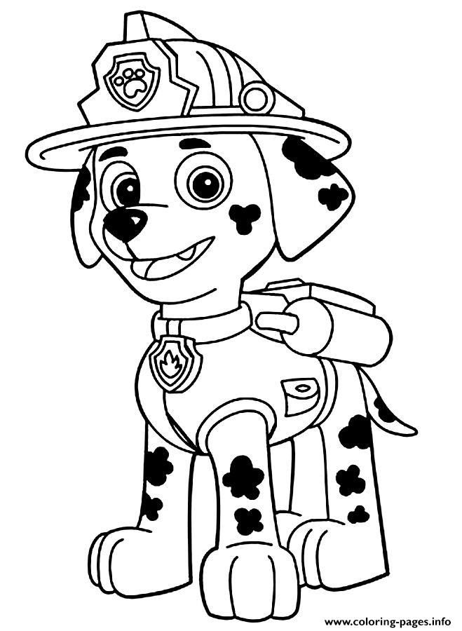 Print Paw Patrol Marshall Is Happy Coloring Pages