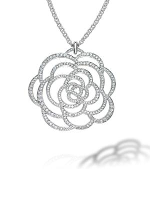 Chanel Camelia Pendant in 18K White Gold and Diamonds as seen on Olivia Wilde