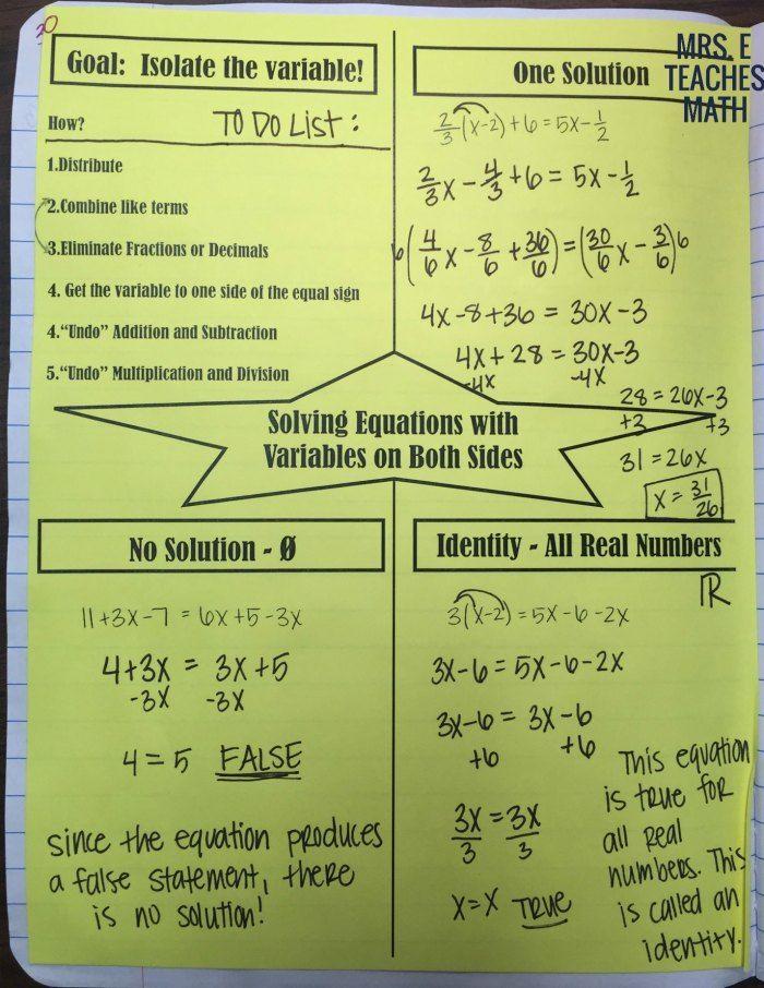 Solving Equations INB Pages   Solving equations, Equations ...