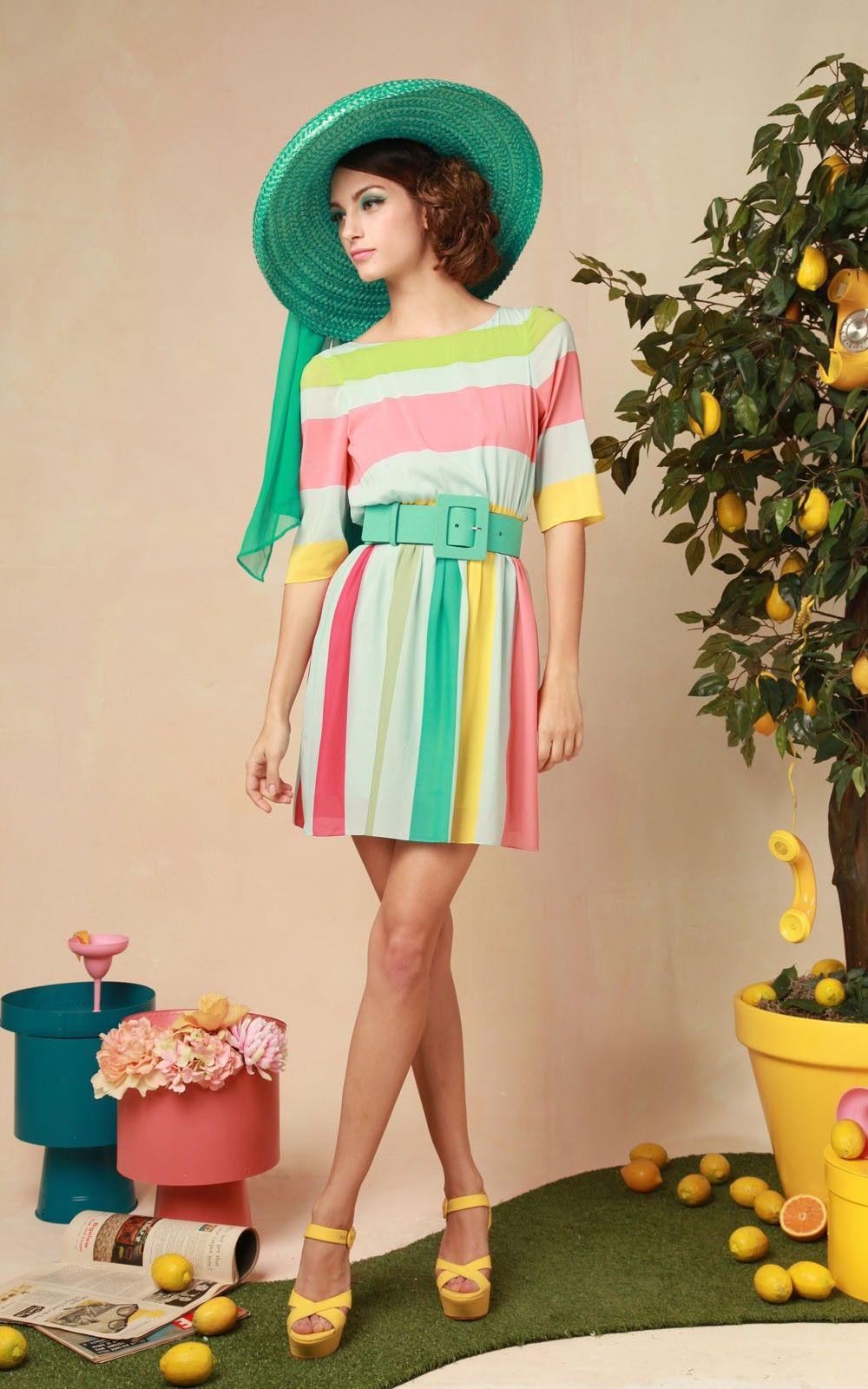 Anita 3/4 Sleeve Stripe Dress With Belt