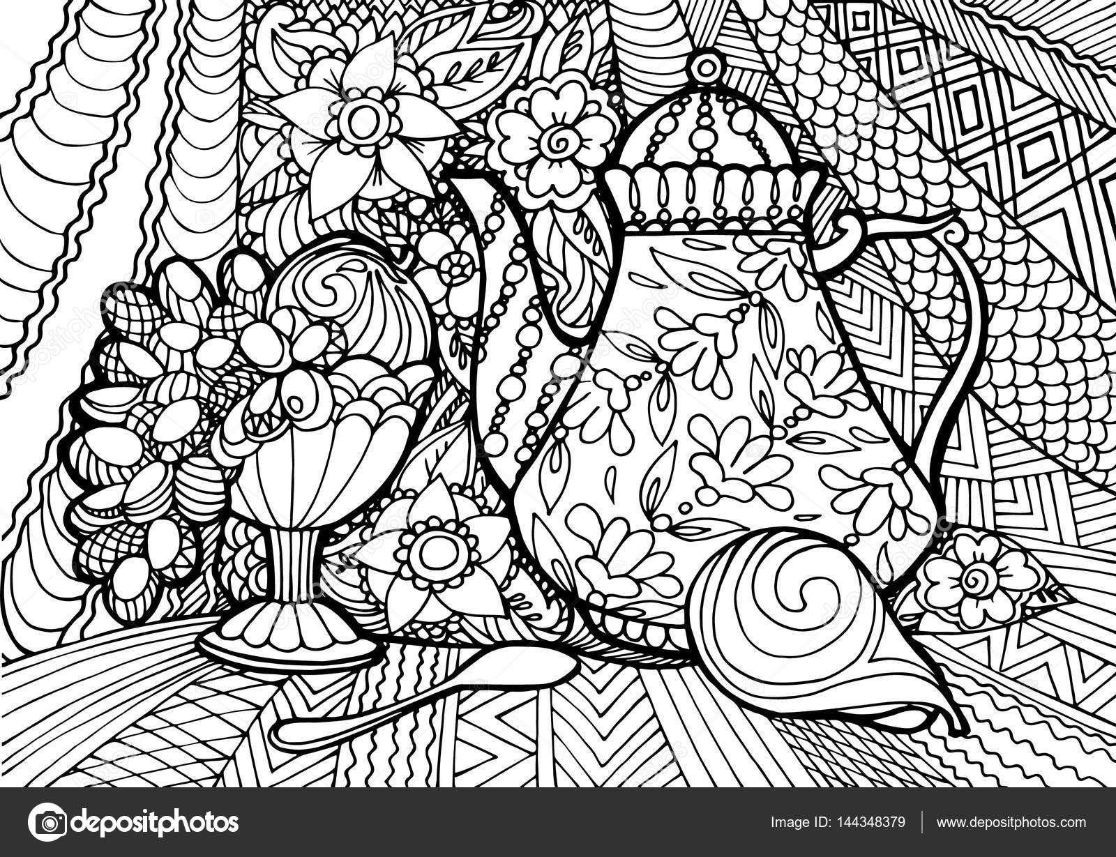 Декоративный натюрморт с чай и фрукты. Каракули. Раскраски ...