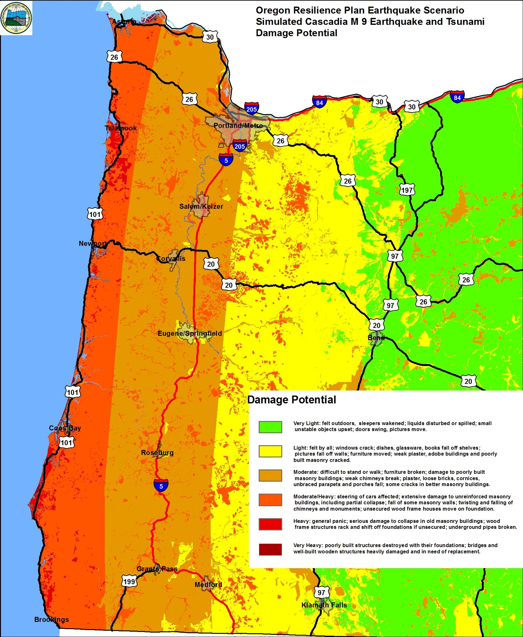 Damage potential map for magnitude 9 Cascadia Subduction Zone