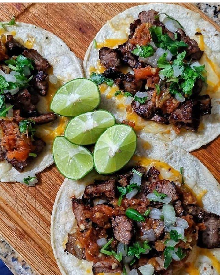 foodporn tacos Carne asada tacos!! Great pic from grillandsmokeco!!! #brisket #bbq #texasbbq #meat #...