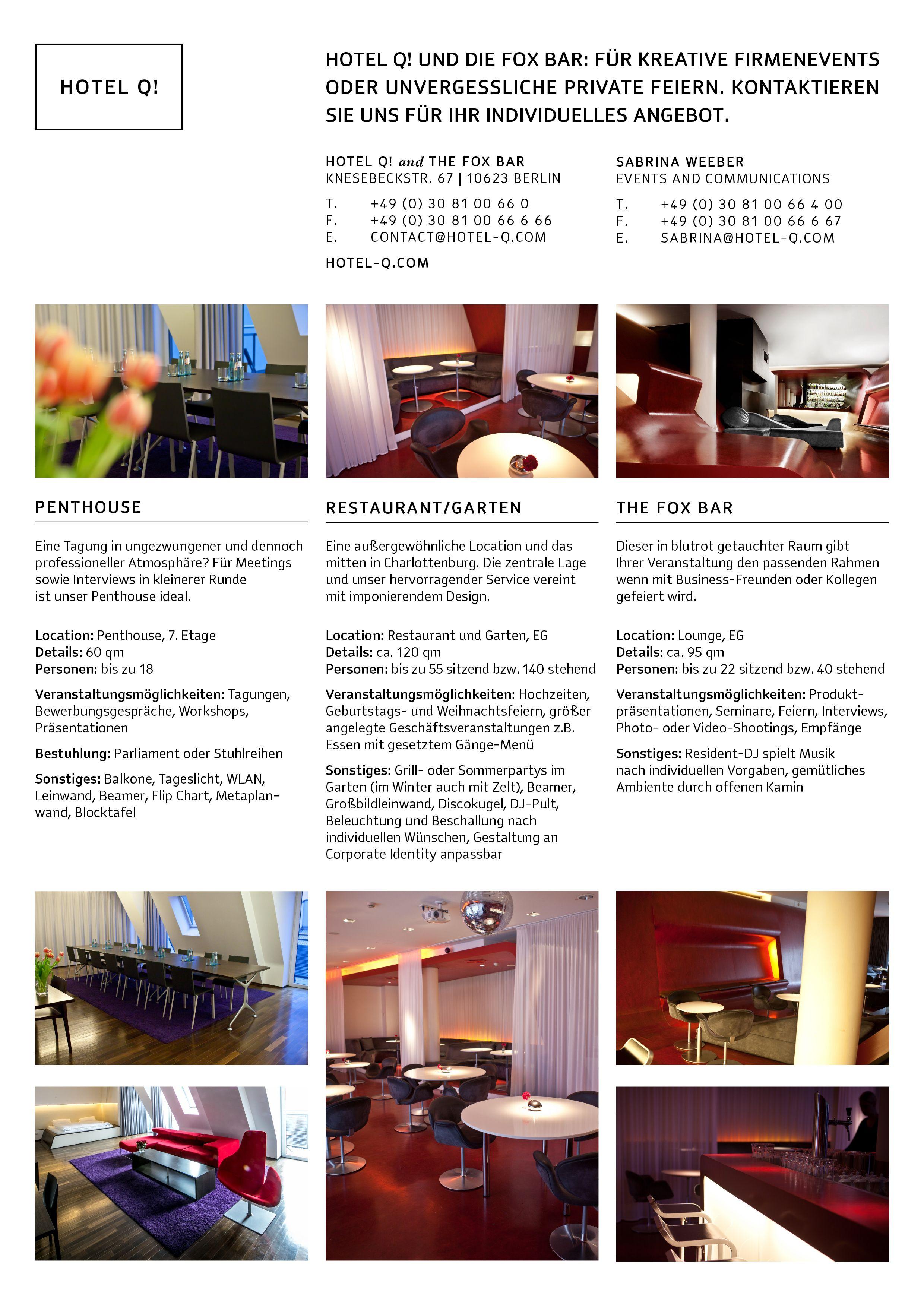Hotel Q! Events Factsheet | All About Art | Pinterest
