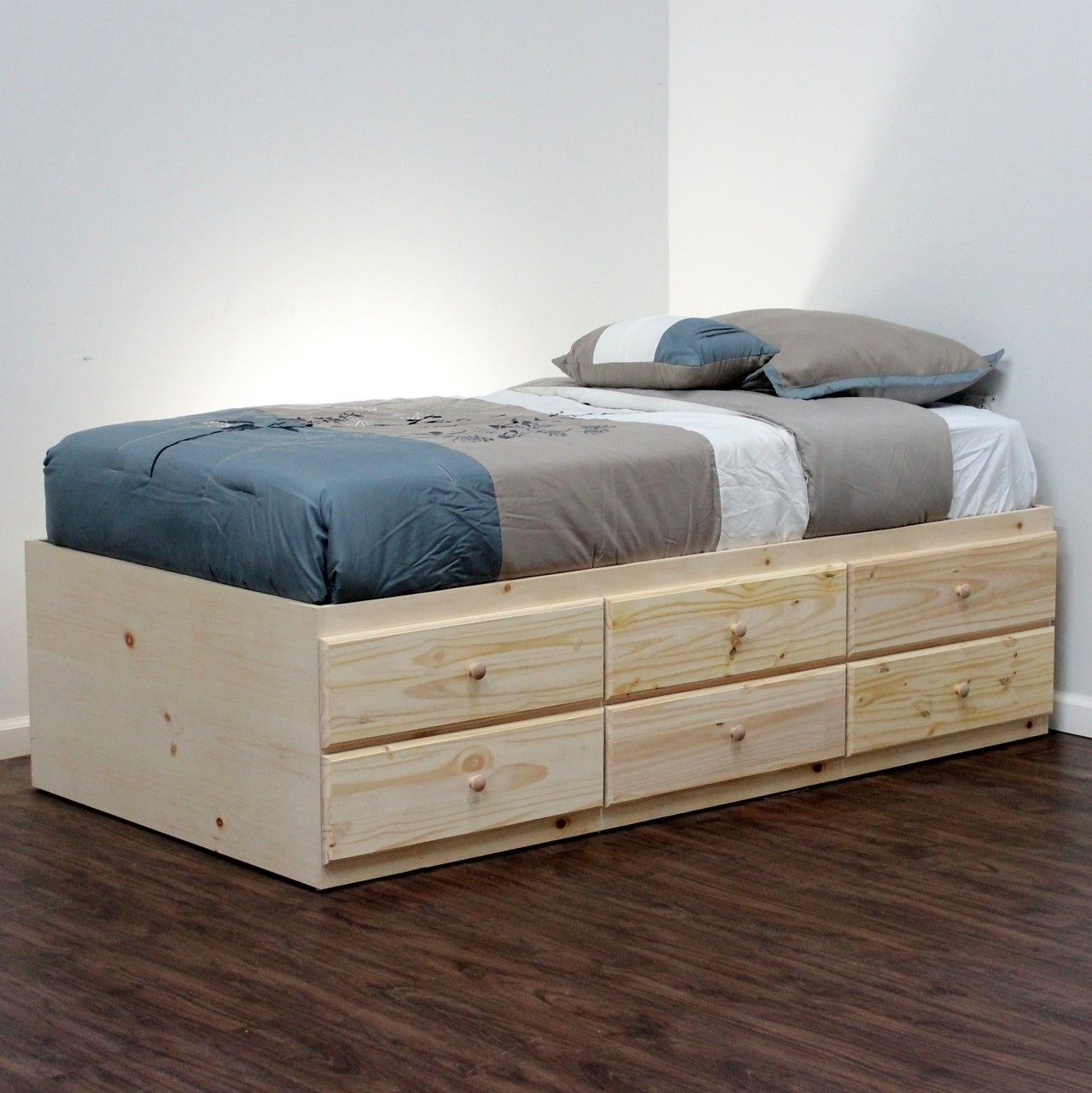 extra long twin storage bed 6 drawers in pine - Twin Bed And Frame