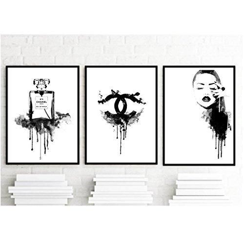 Set Of 3 Art Prints Coco Chanel Inspirational Print Home Decor Typography Poster Black