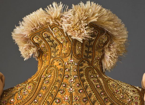 18th century embroidered collar detail