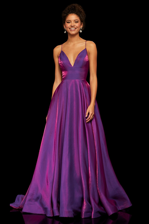 Sherri Hill 52424 V Neck Open Back Evening Dress Purple Prom Dress Purple Dresses Formal Cute Prom Dresses [ 3000 x 2000 Pixel ]