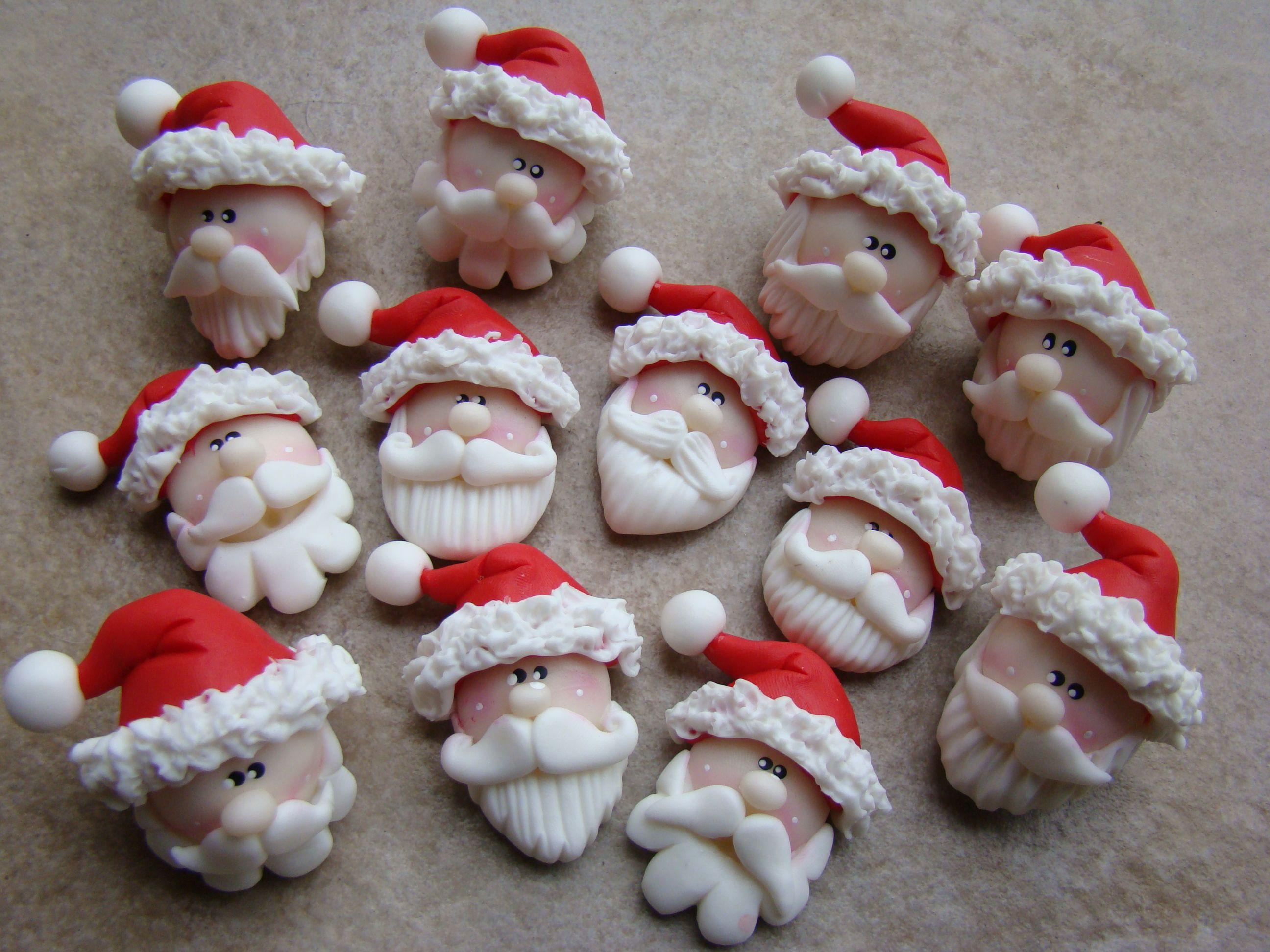 Caritas papa noel navidad en porcelana fria pinterest for Adornos navidenos en porcelana fria utilisima