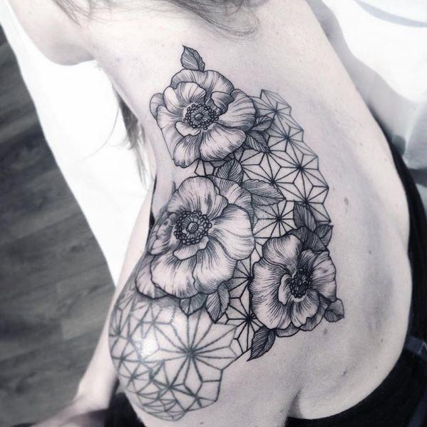 136820ded616f Geometric flowers tattoo | ink